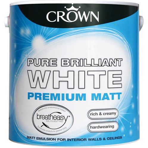 Crown  Matt Brilliant White Paint - 2.5 Litre