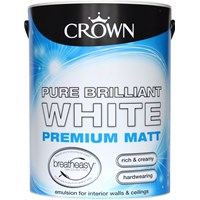 Crown  Matt Brilliant White Paint - 5 Litre