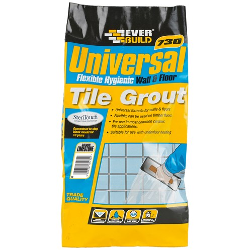 Everbuild  730 Universal Flexible Tile Grout Limestone - 5kg