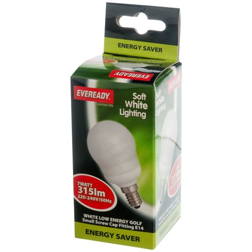 Eveready  CFL Golf Light Bulb - 7W SES