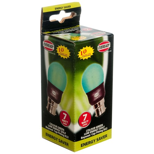 Eveready  CFL Green Golf Light Bulb - 7W BC