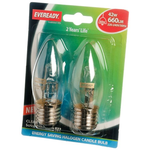 Eveready  Eco Halogen Candle Light Bulb 42W ES - 2 Pack