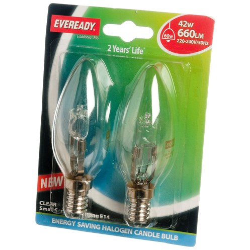 Eveready  Eco Halogen Candle Light Bulb 42W SES - 2 Pack