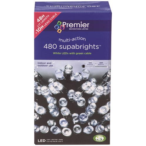 Premier Decorations  480 LED Supabright Lights - White
