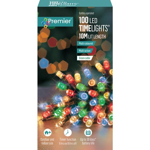 Premier Decorations  100 LED Battery Timer Lights - Multi-Coloured