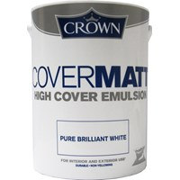 Crown  Covermatt Brilliant White Paint - 5 Litre