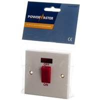 Powermaster  Double Switch c/w Neon - 45 Amp 1 Gang