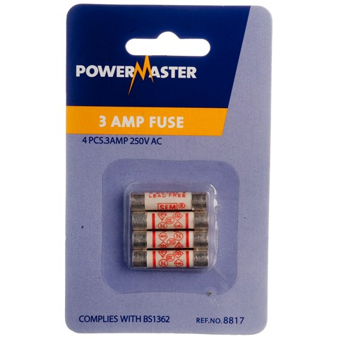 Powermaster  4 Pack Plug Top Fuses - 3 Amp
