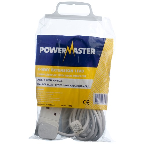 Powermaster  5m Extension Lead - 13 Amp 4 Gang