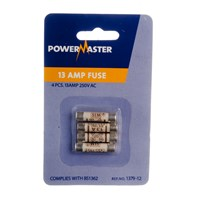 Powermaster  4 Pack Plug Top Fuses - 13 Amp